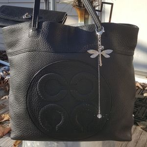 Coach Julia Op Art Black pebbled Leather XL Tote D